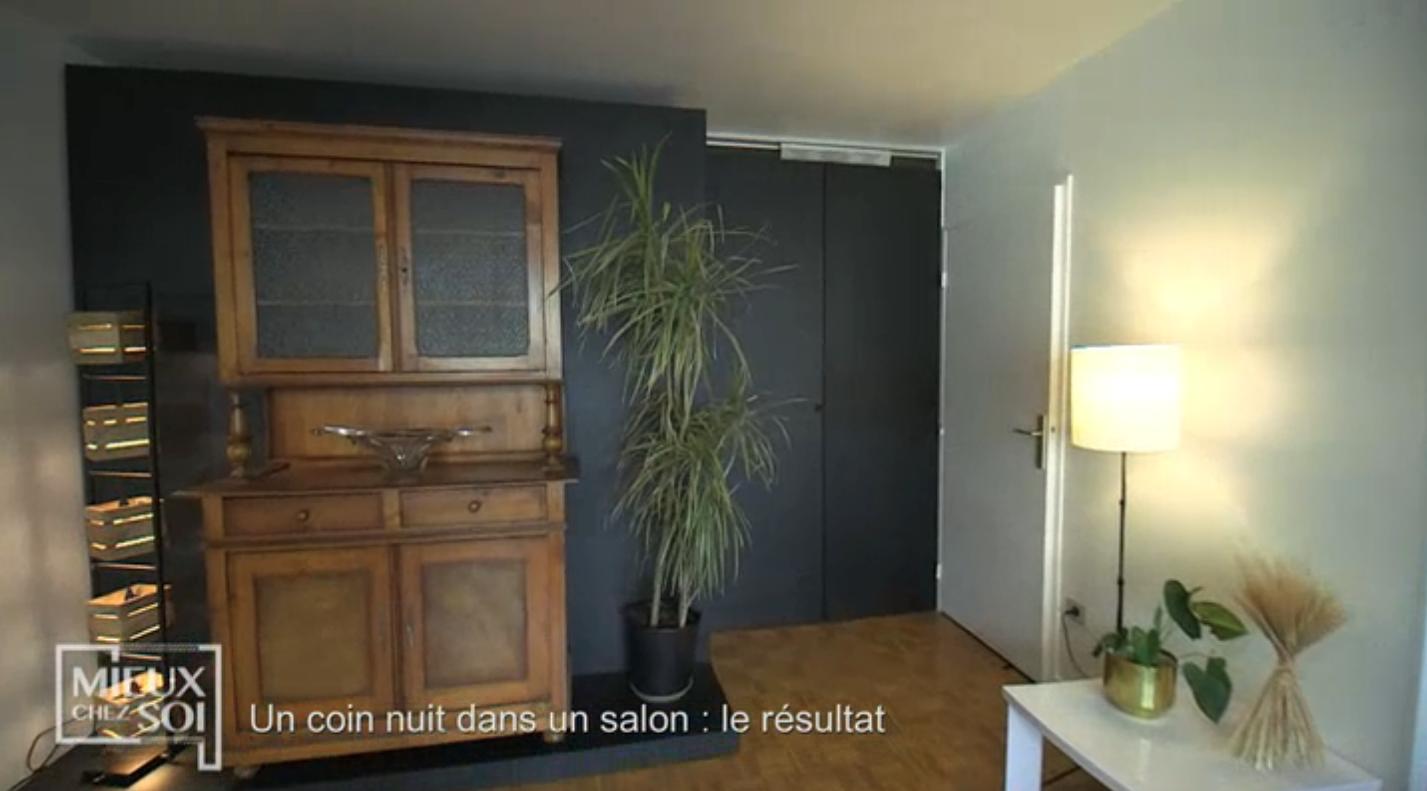 Cloison amovible/lit «Mieux chez soi» 2 juillet 2019 vue de face de la cloison fermée