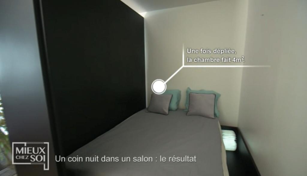 Cloison amovible/lit «Mieux chez soi» 2 juillet 2019 : lit en position ouvert