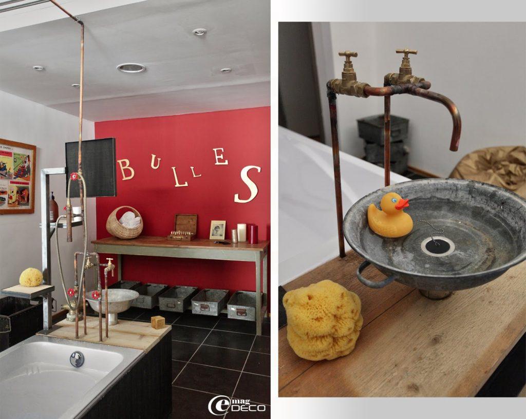 Une des salles de bain de l'appartement Gîte.