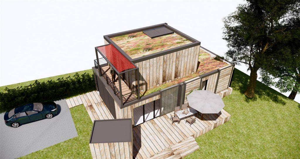 Vue de 3/4 de la maison Une maison passive réalisée avec des containers frigorifiques