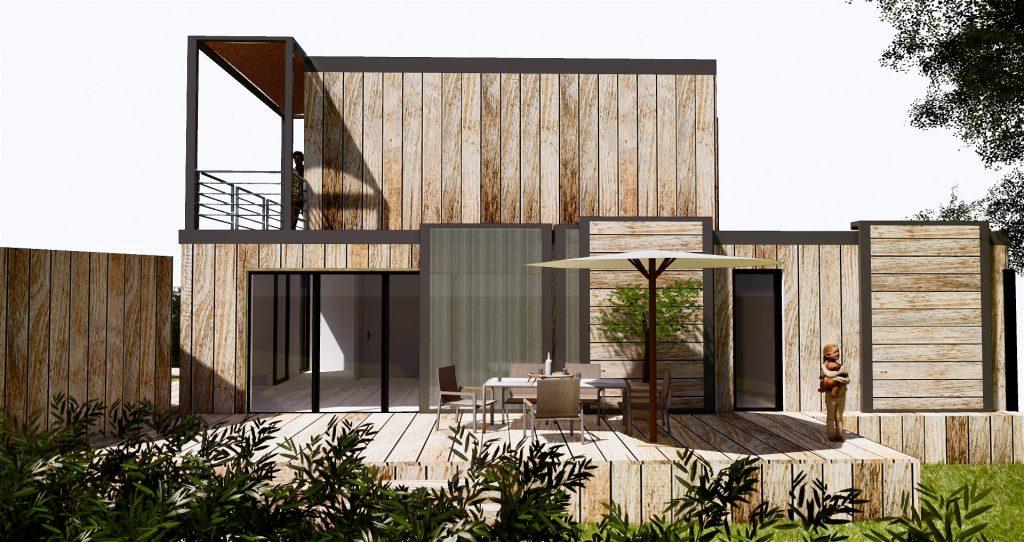 Vue de face du projet : Une maison passive réalisée avec des containers frigorifiques