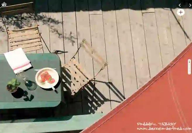 la terrasse vue du toit
